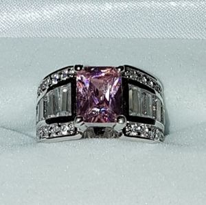 Jewelry - NEW IcePink Sapphire Baquette Sterling Silver Ring